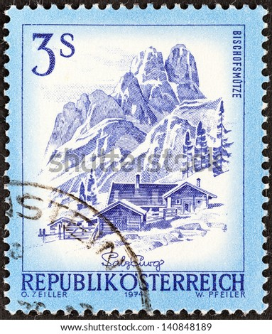 """AUSTRIA - CIRCA 1974: A stamp printed in Austria from the """"Views"""" issue shows Bischofsmutze and Alpine farm, circa 1974. - stock photo"""