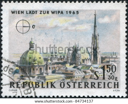 AUSTRIA - CIRCA 1964: A stamp printed in Austria, is dedicated to the Vienna International Philatelic Exhibition, shows St. Peter's Church and St. Stephen's Cathedral, Vienna, circa 1964