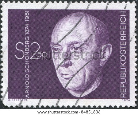 AUSTRIA - CIRCA 1974: A stamp printed in Austria, is depicted Arnold Schonberg, composer, circa 1974