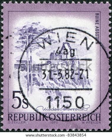 AUSTRIA - CIRCA 1973: A stamp printed in Austria, is shown Aggstein Castle, circa 1973 - stock photo