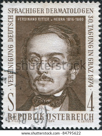 AUSTRIA - CIRCA 1974: A stamp printed in Austria, is shown Ferdinand Ritter von Hebra, the founder of modern dermatology, circa 1974