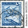 AUSTRIA - CIRCA 1945: A stamp printed in Austria, is shown Lermoos, Winter Scene, circa 1945 - stock photo