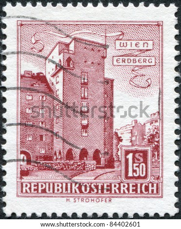AUSTRIA - CIRCA 1958: A stamp printed in Austria, is shown Rabenhof Building, Erdberg, Vienna, circa 1958