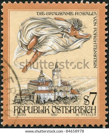 AUSTRIA - CIRCA 1997: A stamp printed in Austria, is shown The Cruel Lady of Forchtenstein Castle, Burgenland, circa 1997 - stock photo