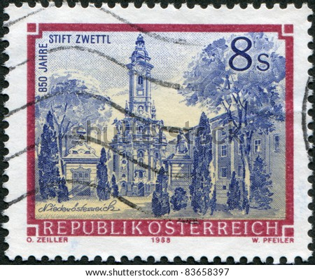AUSTRIA - CIRCA 1988: A stamp printed in Austria, is shown Zwettl Abbey, circa 1988