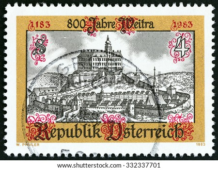 AUSTRIA - CIRCA 1983: A stamp printed in Austria issued for the 800th anniversary of Weitra shows Weitra, circa 1983.