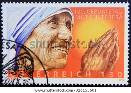 AUSTRIA - CIRCA 2010: A stamp printed in Austria showing an image of mother Teresa, circa 2010. - stock photo