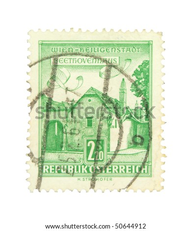 AUSTRIA - CIRCA 1964: A stamp printed in Austria showing Beethoven house circa 1964