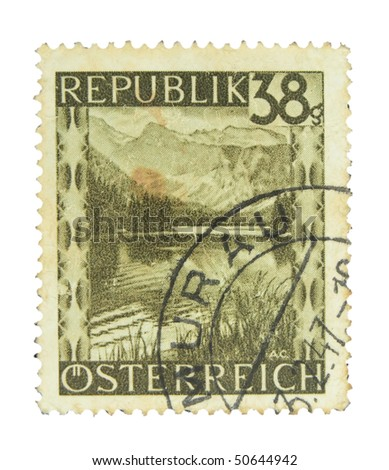 AUSTRIA - CIRCA 1947: A stamp printed in Austria showing landscape circa 1947