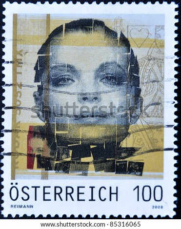 AUSTRIA - CIRCA 2008: A stamp printed in Austria shows a stamp dedicated to actress Romy Schneider, Sissi, circa 2008