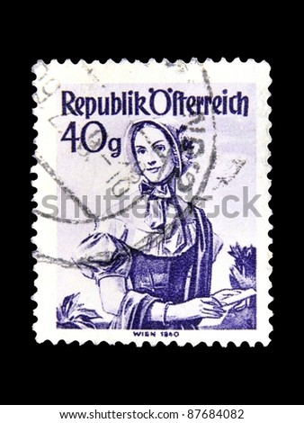 "AUSTRIA - CIRCA 1948: A stamp printed in Austria shows a woman in the Austrian national dress with the inscription "" Vienna, 1840"" from the series ""Costumes"", circa 1948"