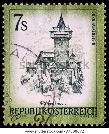AUSTRIA - CIRCA 1973: A stamp printed in Austria shows Burg Falkenstein castle, circa 1973 - stock photo