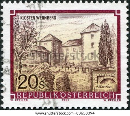AUSTRIA - CIRCA 1991: A stamp printed in Austria, shows Castle Wernberg, circa 1991 - stock photo