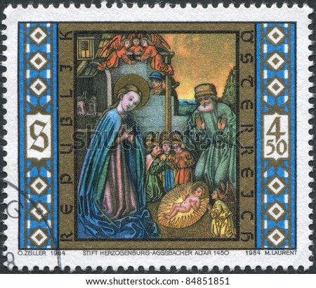 AUSTRIA - CIRCA 1984: A stamp printed in Austria, shows Christ is Born, Aggsbacher Altar, Herzogenburg Monastery, circa 1984