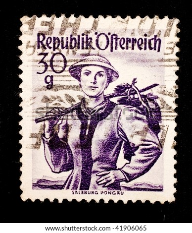 AUSTRIA - CIRCA 1952: A stamp printed in Austria shows image of a lady, series, circa 1952