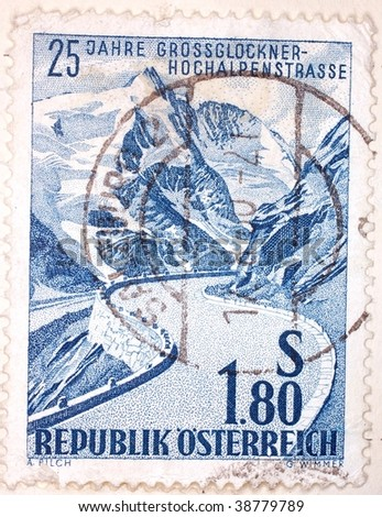 AUSTRIA - CIRCA 1964: A stamp printed in Austria shows image of the Grossglockner Glacier, series, circa 1964