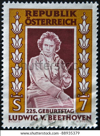 AUSTRIA - CIRCA 1995: A stamp printed in Austria shows Ludwig van Beethoven a famous classical music composer, circa 1995 - stock photo