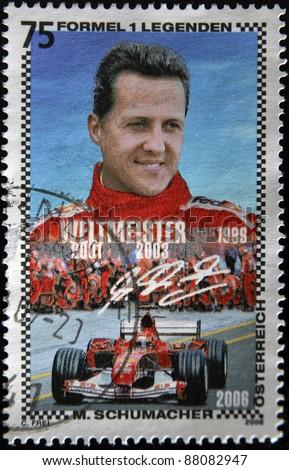 AUSTRIA - CIRCA 2006: A stamp printed in Austria shows Michael Schumacher, circa 2006 - stock photo