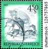 "AUSTRIA - CIRCA 1976: A stamp printed in Austria shows Retz, from the series ""Sights in Austria"", circa 1976 - stock photo"