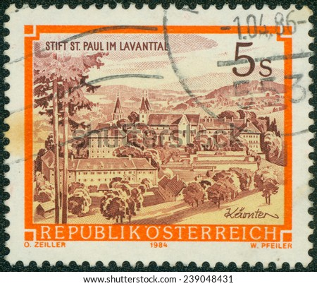 AUSTRIA - CIRCA 1984 A stamp printed in Austria shows St. Paul's Abbey in the Lavanttal, Karintien, from the series Monasteries and Abbeys in Austria, circa 1984 - stock photo