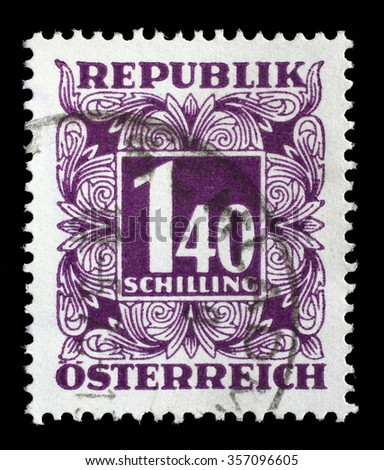 AUSTRIA - CIRCA 1949: A stamp printed in Austria, shows the numbers, face value stamps, circa 1949 - stock photo