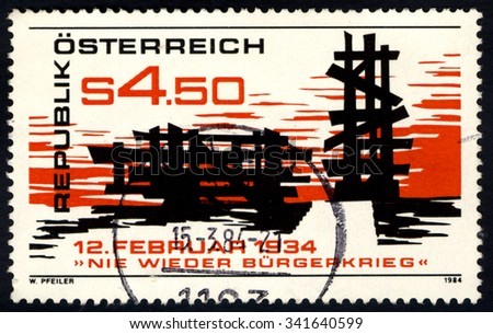 AUSTRIA - CIRCA 1984: A stamp printed in Austria to commemorate Never Again Civil War shows Memorial of Uprising in Woellersdorf, circa 1984 - stock photo