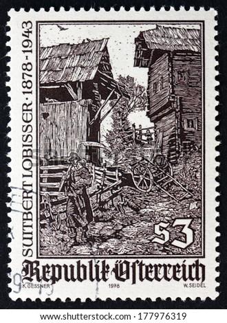 AUSTRIA - CIRCA 1978: a stamp printed in the Austria shows Alpine Farm, Woodcut by Switbert Lobisser, Graphic Artist, circa 1978 - stock photo