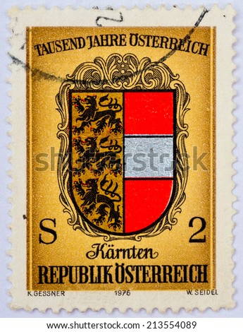 AUSTRIA - CIRCA 1976 : a stamp printed in the Austria shows celebration of thousand years Austria , circa 1976 - stock photo