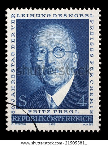 AUSTRIA - CIRCA 1973: a stamp printed in the Austria shows Fritz Pregl, Chemist, 50th Anniversary of the Awarding of the Nobel Prize for Chemistry, circa 1973