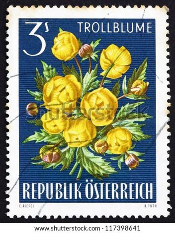 AUSTRIA - CIRCA 1966: a stamp printed in the Austria shows Globe-flower, Trollius Europaeus, Alpine Flower, circa 1966 - stock photo