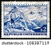AUSTRIA - CIRCA 1970: a stamp printed in the Austria shows Mountain Scene, Hiking and Mountaineering in Austria, circa 1970 - stock photo