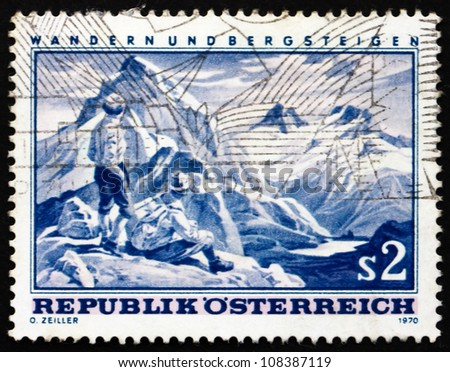 AUSTRIA - CIRCA 1970: a stamp printed in the Austria shows Mountain Scene, Hiking and Mountaineering in Austria, circa 1970 - stock photo