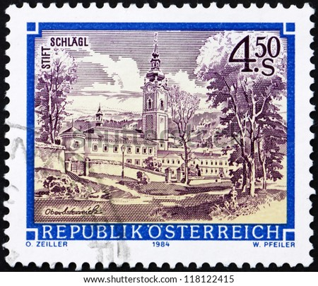 AUSTRIA - CIRCA 1984: a stamp printed in the Austria shows Schlagl Monastery, Upper Austria, circa 1984