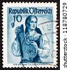 AUSTRIA - CIRCA 1948: a stamp printed in the Austria shows Woman from Styria, Salzkammergut, Regional Costume, circa 1948 - stock photo