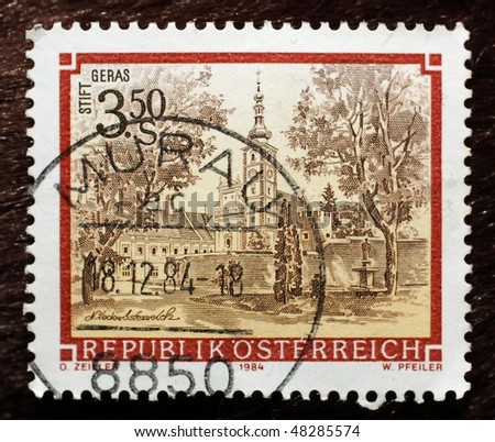 AUSTRIA - CIRCA 1984: A stamp (Scott 2008 1285) of value 3.50 schilling shows image of Geras Abbey, circa 1984