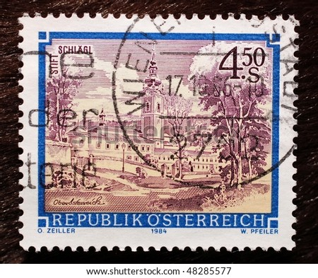 AUSTRIA - CIRCA 1984: A stamp (Scott 2008 1287) of value 4.50 schilling shows image of Schlagl Abbey, circa 1984