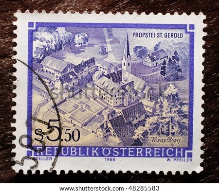 AUSTRIA - CIRCA 1987: A stamp (Scott 2008 1361) of value 5.50 schilling shows image of St. Gerold's Provostry in Vorarlberg, circa 1987