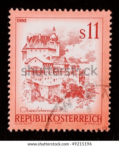 AUSTRIA - CIRCA 1976: A stamp shows image of an Austrian landmark, series, circa 1976