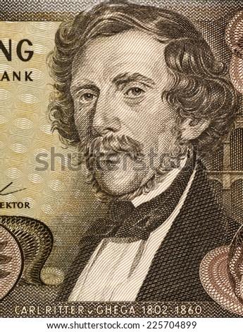 AUSTRIA - CIRCA 1967: Carl Ritter von Ghega (1802-1860) on 20 schilling 1967 banknote from Austria. Designer of the Semmering Railway from Gloggnitz to Murzzuschlag. - stock photo