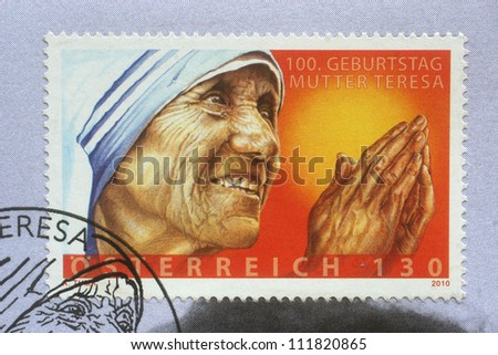 AUSTRIA - CIRCA 2010: postage stamp printed in Austria showing an image of mother Teresa, published for the centenary,  circa 2010. - stock photo