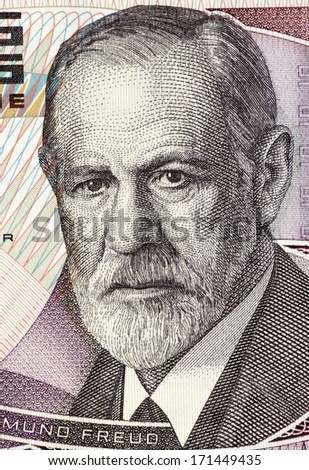 AUSTRIA - CIRCA 1986: Sigmund Freud (1856-1939) on 50 Shilling 1986 Banknote from Austria. Austrian neurologist who founded the discipline of psychoanalysis. - stock photo