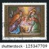 AUSTRIA - CIRCA 1991: stamp printed by Austria, shows Birth of Christ, Baumgartenberg Church, circa 1991 - stock photo