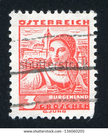 AUSTRIA - CIRCA 1932: stamp printed by Austria, shows Costumes in Burgenland, circa 1932