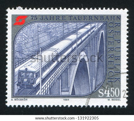 AUSTRIA - CIRCA 1984: stamp printed by Austria, shows Falkenstein Bridge, train, circa 1984
