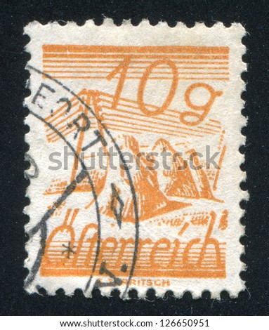 AUSTRIA - CIRCA 1925: stamp printed by Austria, shows Fields Crossed by Telegraph Wires, circa 1925