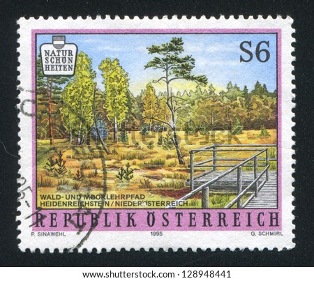 AUSTRIA - CIRCA 1995: stamp printed by Austria, shows forest, glade, fencing, circa 1995