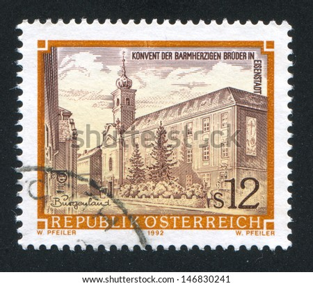 AUSTRIA - CIRCA 1992: stamp printed by Austria, shows Monastery of the Hospitalers in Eisenstadt, circa 1992