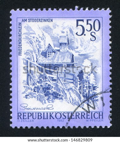 AUSTRIA - CIRCA 1982: stamp printed by Austria, shows Peace Chapel in Stoderzinken, circa 1982