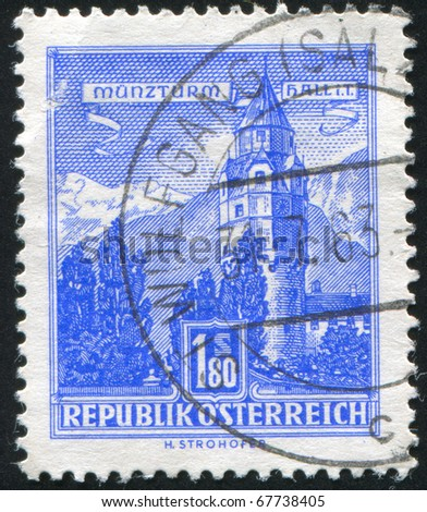 AUSTRIA - CIRCA 1957: stamp printed by Austria, shows The Mint, Hall, circa 1957