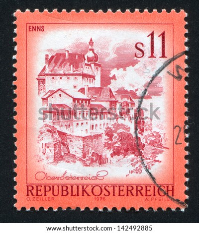AUSTRIA - CIRCA 1976: stamp printed by Austria, shows Town Enns, buildings, circa 1976